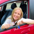 Woman with driving license — Stock Photo
