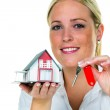 Woman with house key — Stock Photo #32658713