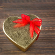 Heart-shaped box as a gift — Stock Photo
