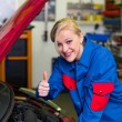Woman as a mechanic in auto repair shop — Stock Photo