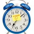 Alarm clock on vacation beginning — Stock Photo