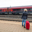 Woman waiting for train station on their — Stock Photo #32984669