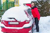 Shoveling snow in winter — Stock Photo