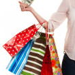 Woman with shopping bags while shopping — Stok fotoğraf
