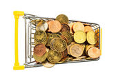 Shopping vart with euro coins — Stock Photo