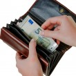 Wallet with euro bills — Stock Photo