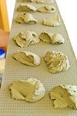 Preparation of bread dough — Stock Photo