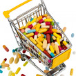 Colorful tablets in cart — Stock Photo