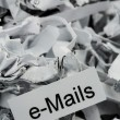 Shredded paper keyword emails — Stock Photo