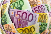 Many different euro bills — Foto de Stock