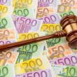 Judge gavel and euro banknotes — Stock Photo