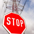 Power line and stop sign — Stock Photo #38106571