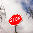 Power line and stop sign — Stock Photo #38338309
