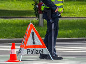 Police use. roadblock — Stock Photo