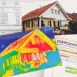 Save energy. house with thermal imaging camera — Stock Photo #38797805