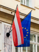 Eu flag and austria flag — Stock Photo