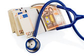 Stethoscope and euro banknotes, — Stock Photo