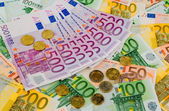 Many different euro bills — Stockfoto