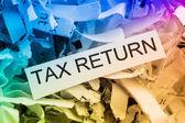 Shredded paper tax return — Stock Photo