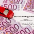 Stock Photo: Insurance contract for new car