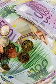 Many different euro bills — Stock Photo