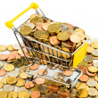 Shopping cart with coins — Stock Photo #40152359