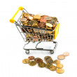 Shopping cart with coins — Stock Photo #40584955