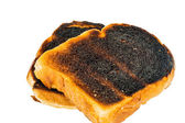 Burned toast bread slices — Stock Photo