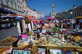 Linz, austria, stare miasto, pchli targ — Zdjęcie stockowe