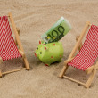 Beach chair with euro banknote — Stock Photo