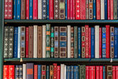 Books in a library — Stock Photo