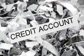 Shredded paper credit account — Stock Photo