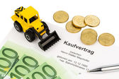 Purchase contract for new excavator — Stock Photo