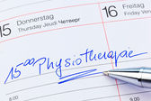 Entry to the calendar: physiotherapy — Stockfoto