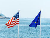 The eu, france and the usa flag — Stock Photo