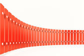 Curved red fence, perspective view — Stock Photo