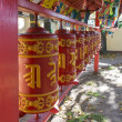 Stock Photo: Prayer wheels with mantra, Sanskrit text