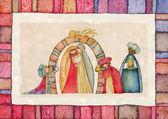 Boże Narodzenie szopka i trzech króli. — Zdjęcie stockowe