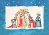 Christmas Nativity scene and the Three Kings. — Stock Photo