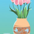 Tulip and vases — Stock Vector
