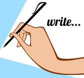 Pen in hand — Stock Vector