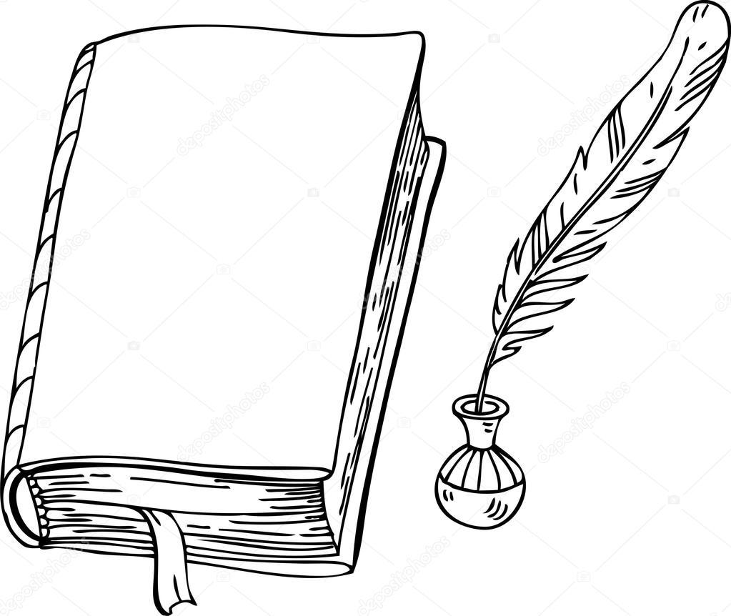 Картинки книга и перо раскраска