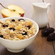 Stock Photo: Muesli with raisins and figs apples