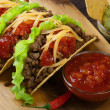 Stock Photo: Tacos with minced meat and tomato salsa