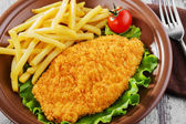 Breaded chicken schnitzel fries — Stock Photo