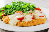 Baked chicken with mozzarella and cherry tomatoes  fillet — Stock Photo