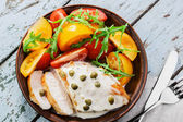 Chicken fillet with caper sauce — Stock Photo