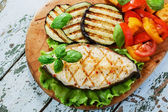 Fish steak grilled vegetables  lancet fish — Stock Photo