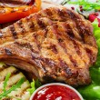 Grilled Pork Chops with vegetables — Stock Photo #48176463