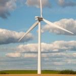 Wind turbines in the fields — Stock Photo